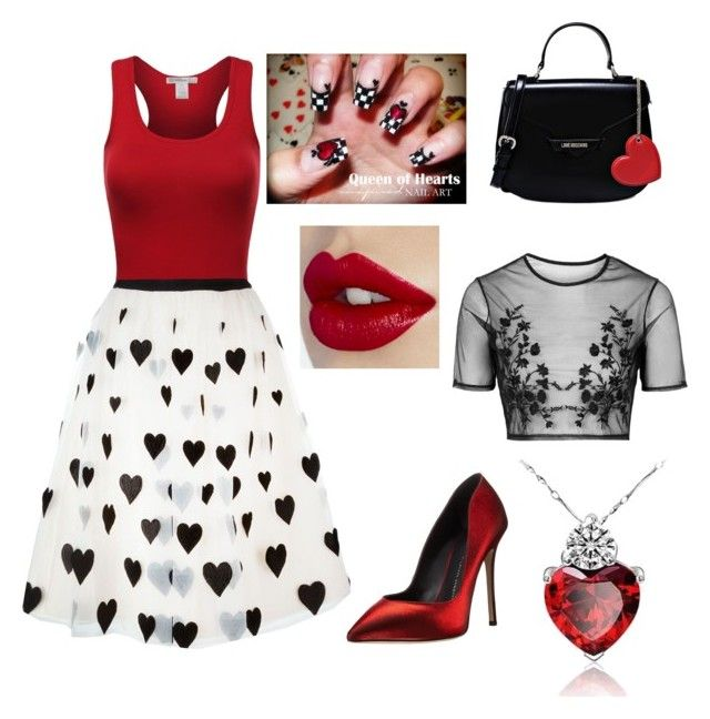 """""""Queen of Hearts"""" by silverflame476 on Polyvore featuring Giuseppe Zanotti, Alice + Olivia, Love Moschino, Topshop, women's clothing, women, female, woman, misses and juniors"""