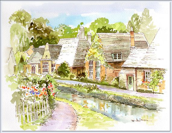 Cotswolds Cottages Watercolor Painting Quaint Village Uk England