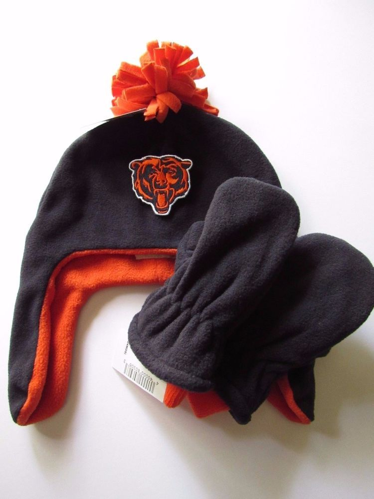 f19cbdd98 NFL 3 Piece DIY Chicago Bears Iron-on Patch Baby Boy Fleece Hat Glove Set  6-12M  ChicagoBears
