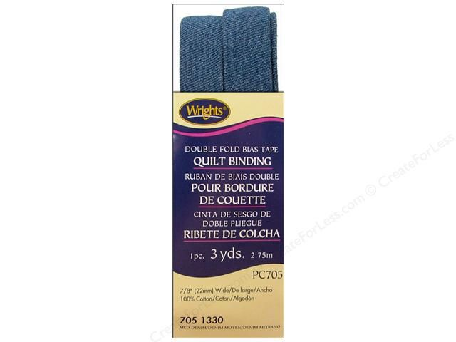 Wrights Double Fold Bias Quilt Binding is colorfast, easy to care for, and needs no ironing. It's Great for quick and easy finishing, adding color accents on quilts, or protecting your heirlooms. 100% cotton. 7/8 inch wide. Medium Denim 3 yards.