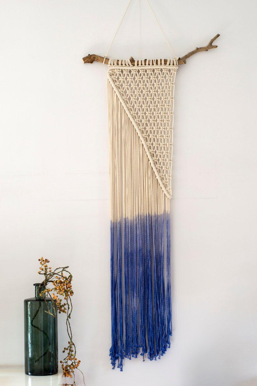 macrame wall hanging dip dye in blue modern macrame wall wall decor fiber