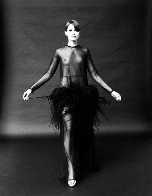 Model wearing a see-through dress by Yves St. Laurent, 1968. Photo