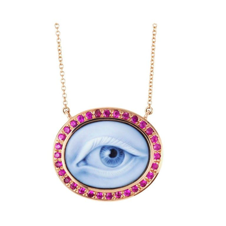 "Photo of AnaKatarina Hand Carved Agate, Pink Rubies and Rose Gold ""Lovers Eye"" Necklace"