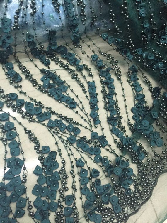 Fantastic Hunter Green Pearl Design Embroidery And Heavy Beaded On A Mesh Lace.