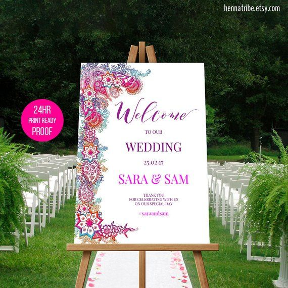 Henna Flowers Welcome Sign For Party Shower Mehndi Sangeet