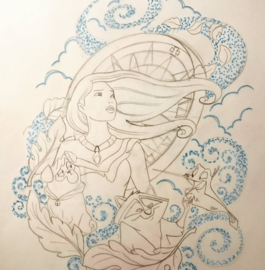 Super excited to do this pocahontas piece soon, 3rd addition to a Disney leg :-) #thetattooedteapot #sketch #Disney #disneytattoo #pocahontas #girltattoo