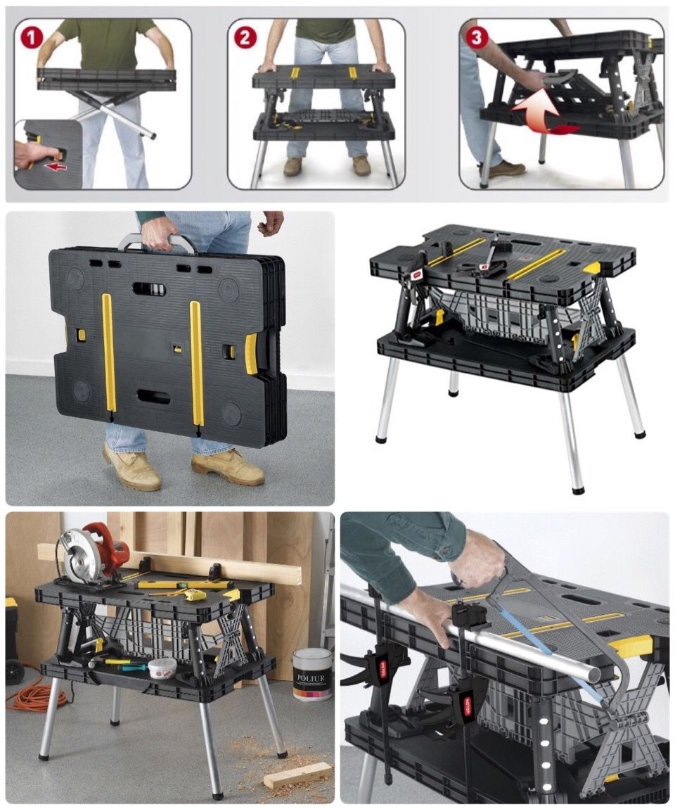 Been Loving My Keter Folding Workbench Compact Convenient And Sturdy So Far Working Out Great For These Diy Easy Garage Storage Workbench Folding Workbench
