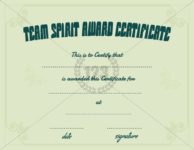 Team Spirit Award Certificate Template Free Download  Certificate