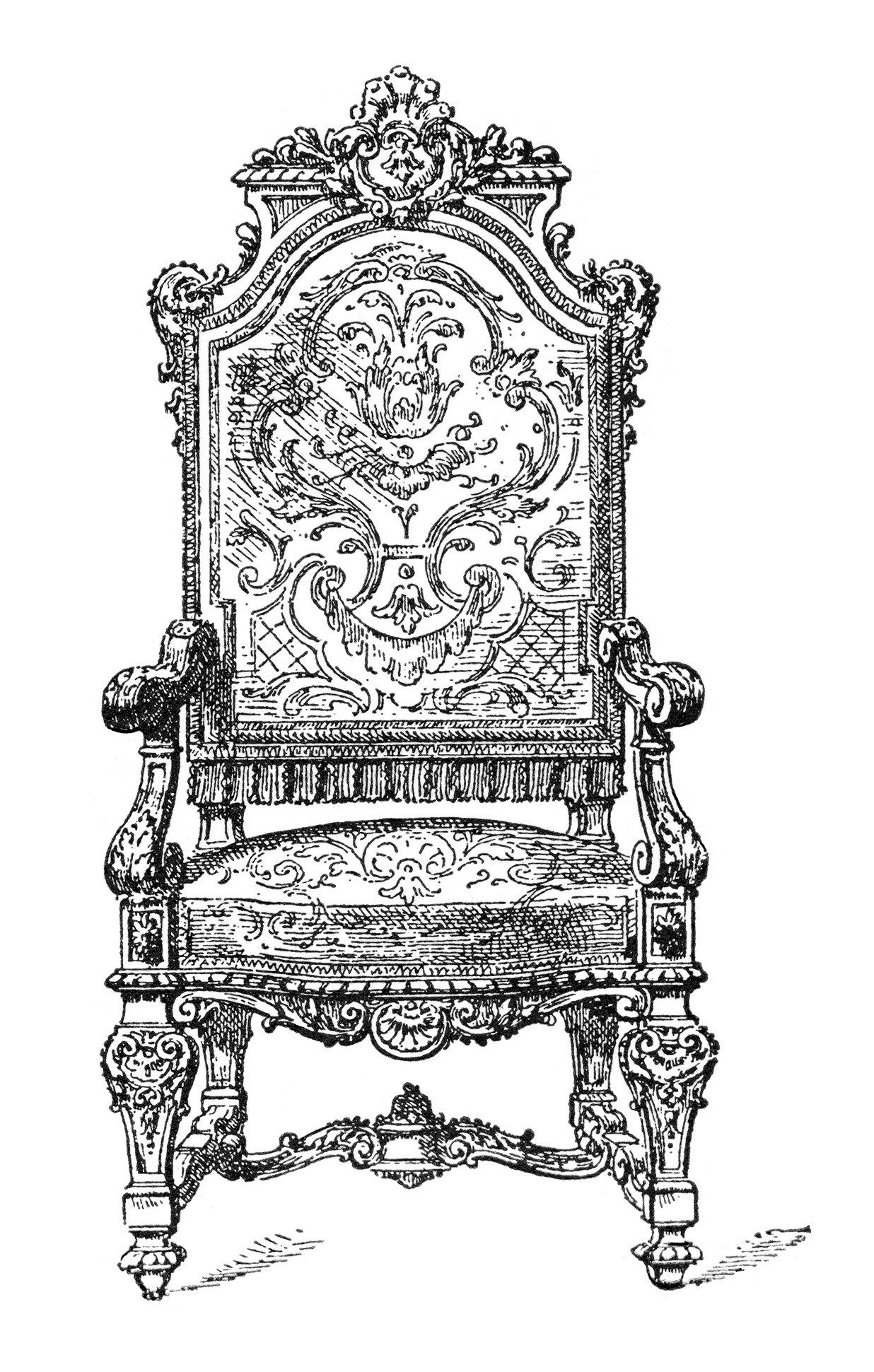Olddesignshop Ornatechair Jpg 1236 1941 Ornate Chairs Clip Art Vintage Vintage Images