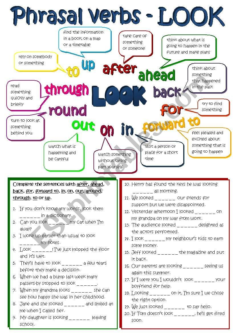 A Short Grammar Guide On Common Phrasal Verbs With Look And A Gap Filling Exercise B W Version And Key Included Hope Grammar Worksheets Verb Verb Worksheets [ 1169 x 821 Pixel ]