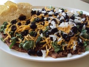 The best comfort food.  Taco Chip Dip!