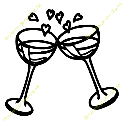 Clipart 12520 Wine Glasses and Hearts - Wine Glasses and ...
