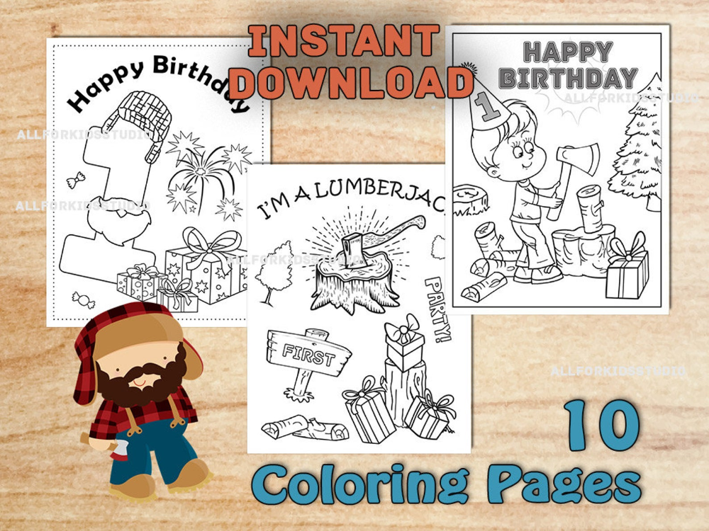 Lumberjack Birthday Party Coloring Pages First Birthday Etsy Lumberjack Birthday Party Colorful Birthday Party Plaid Party Decorations