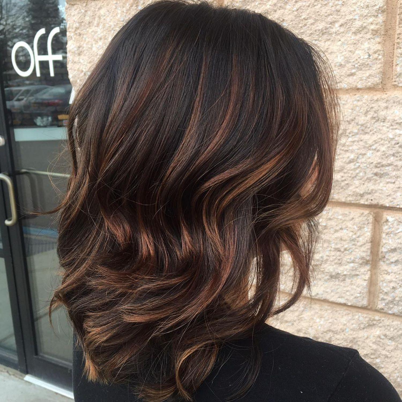 Thin Caramel Highlights For Black Hair Black Hair Balayage Black Hair With Highlights Brown Hair Colors
