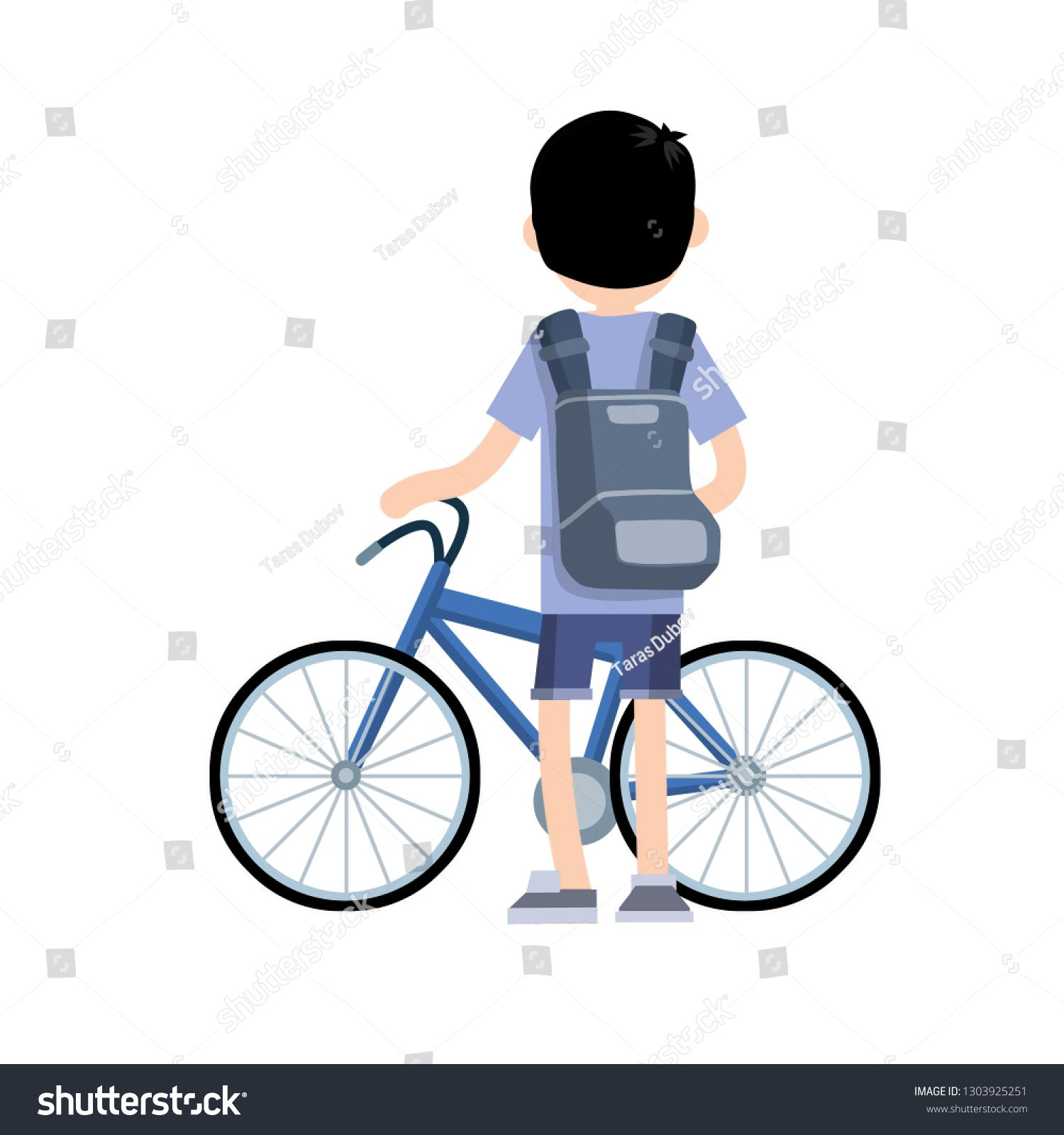 Man In Blue Clothes With A Backpack Riding A Bike A Young Boy And