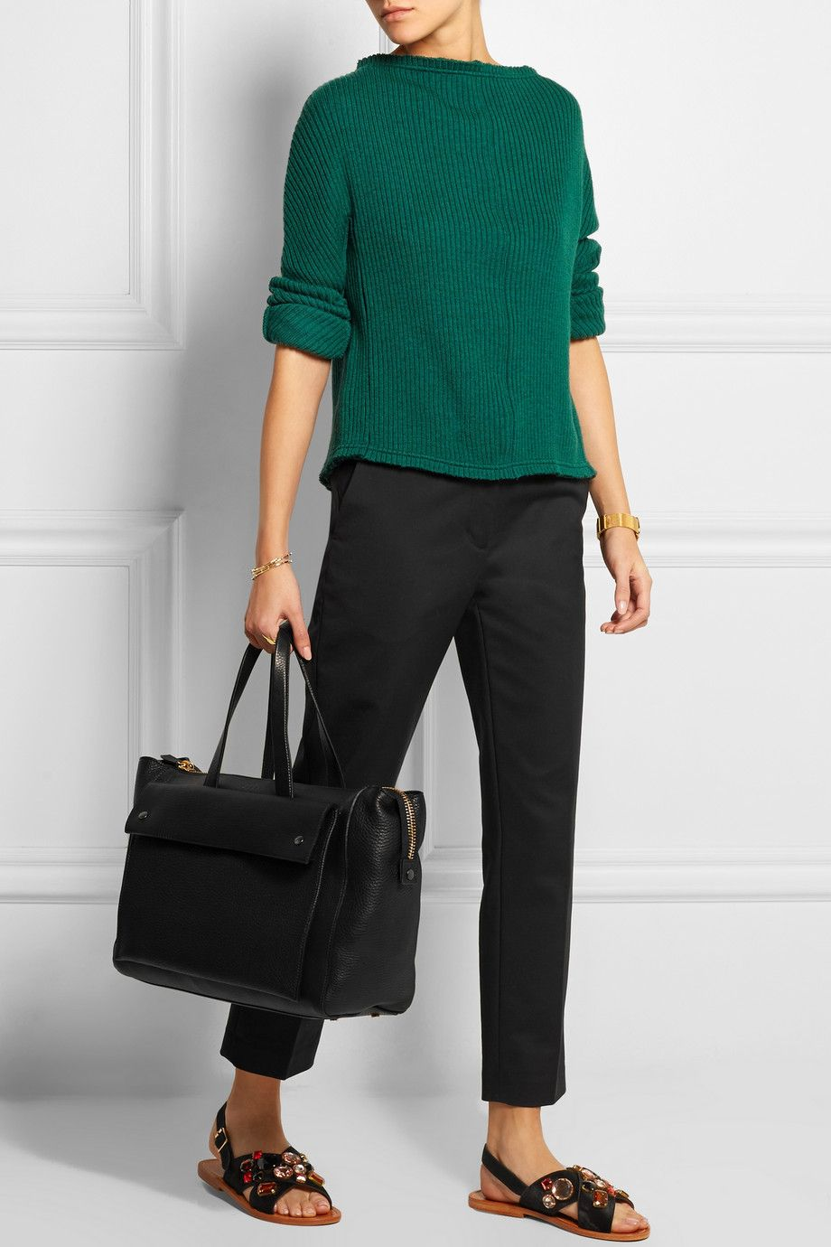 Marni | City large textured-leather bag | NET-A-PORTER.COM