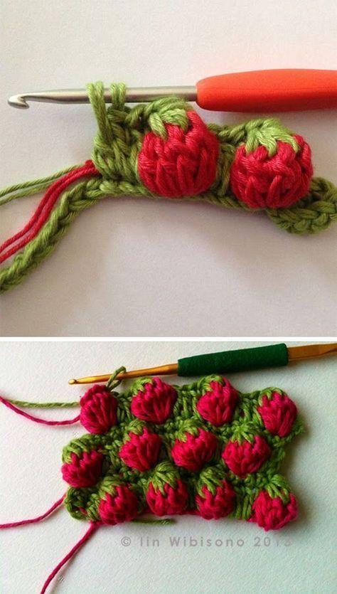 Erdbeerstich Häkelanleitung #crochetpatterns
