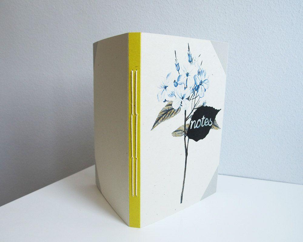 Blue flowers notebook - A6. $12.00, via Etsy.