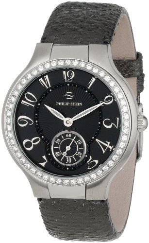 Philip Stein Women's 41D-FB-UGM Round Diamond Gunmetal Karung Strap Watch #PhilipStein