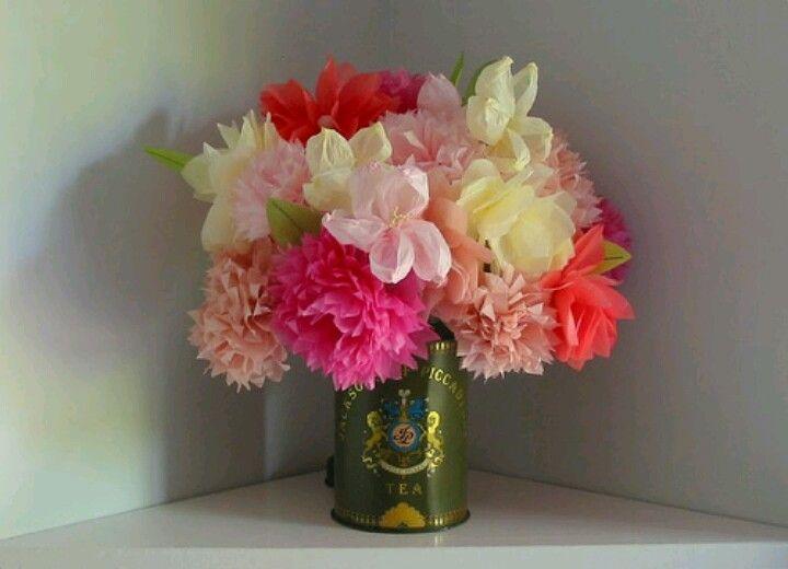 Tissue paper flowers | Crafts | Pinterest | Tissue paper flowers ...