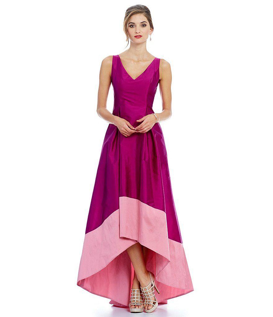 Adrianna Papell Two-Tone Hi-Low Sleeveless Taffeta Gown | Prom ...