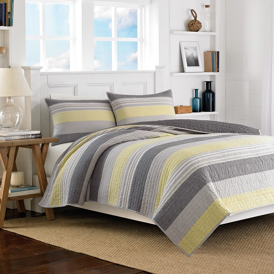 Gray And Yellow Bedroom: #Nautica Mondrian Gray Quilt. #stripes #bedding