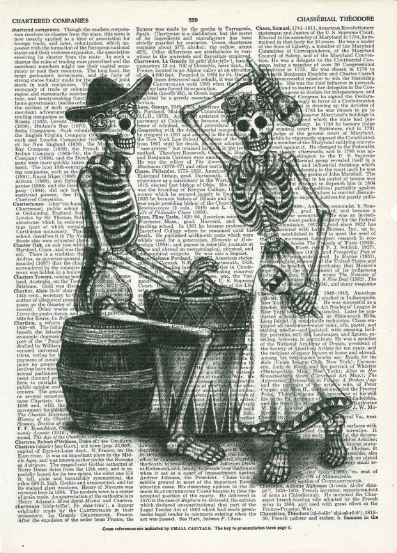 Dictionary Art Print Day of the Dead Dancing Skeleton on Upcycle Vintage Page Book Print Art Print Dictionary Print Collage Print