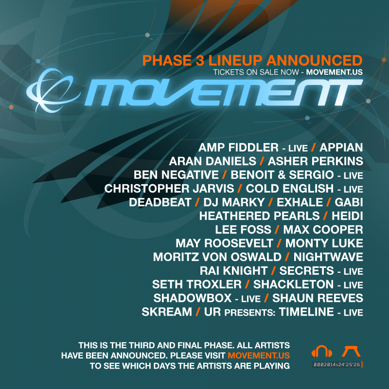 Movement Electronic Music Festival 2014 Lineup Tickets May 24