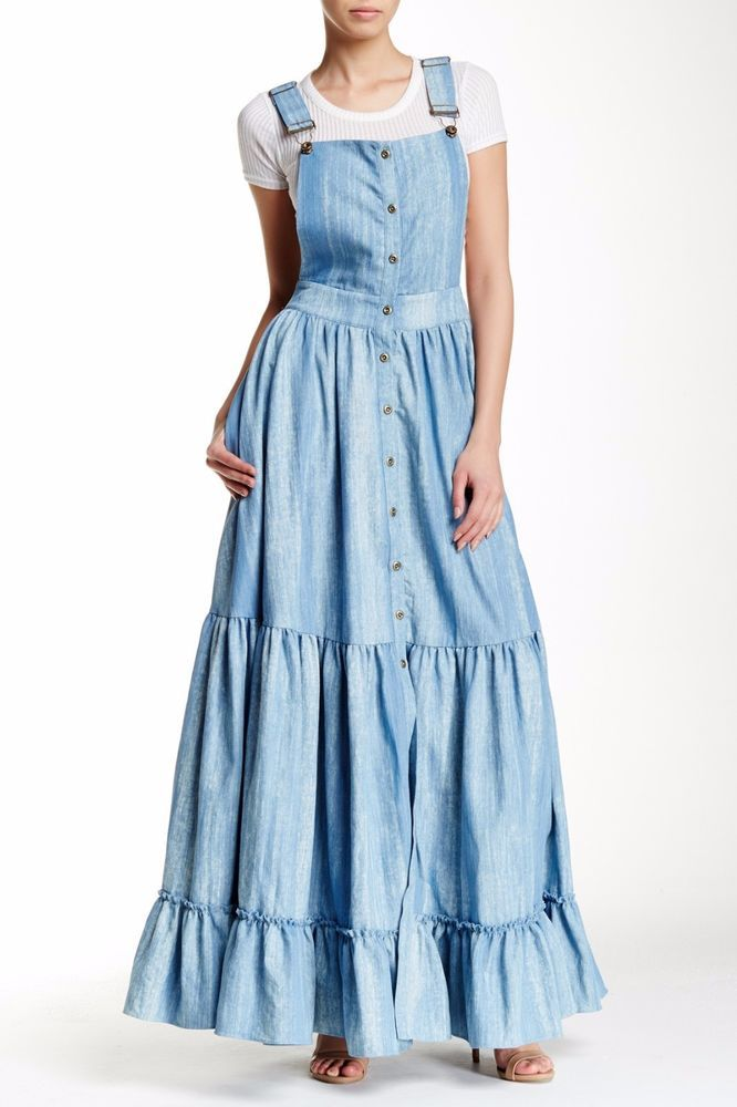 352e0361f48 NWT $273 Tov Holy Blue Denim Jean Overalls Chambray Ruffle Tiered Maxi Dress  S M #Tov #Tiered #Casual