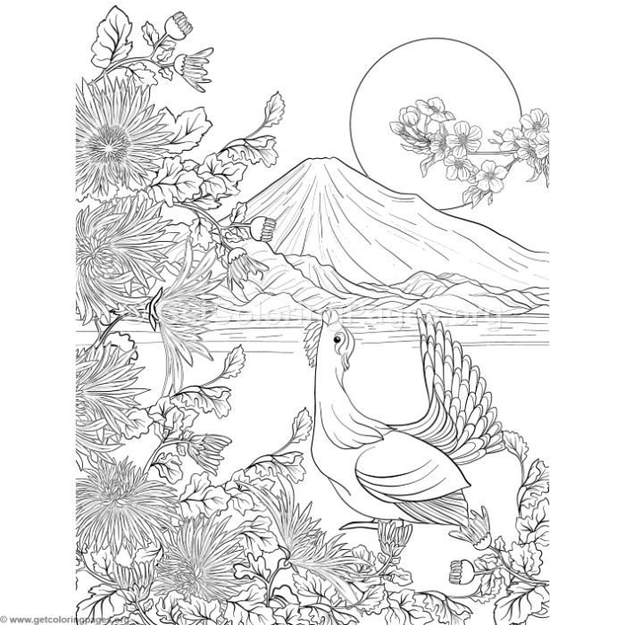 Free Download Japanese Painting Fuji Mountain And Flowers Coloring Pages Coloring Coloringbook Coloringpage Japanese Painting Coloring Pages Japanese Quilts
