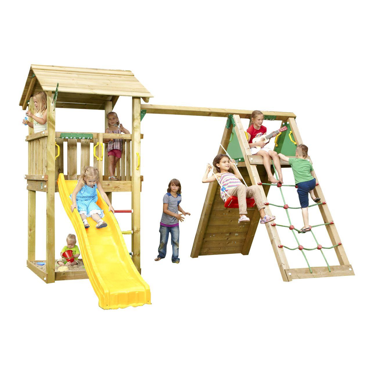 Neu Spielturm mit Wasserrutsche, Schaukel, Kletterwand und Sandkasten  QU72