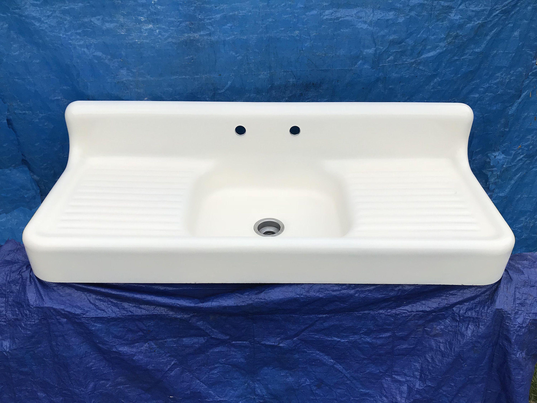 Antique 60 Cast Iron Farm Sink Double Drainboards High Back Apron Vgc Ready For Install Circa 1938 Farm Sink Sink It Cast