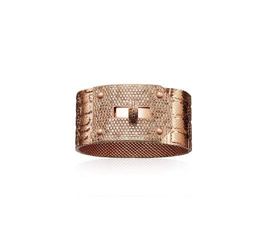 6fc25a4d28d1 Kelly HERMES Bracelet en or rose et diamants bruns en maille milanaise