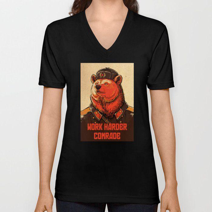 Photo of Arbeite härter, Kamerad! Grafisches T-Shirt mit V-Ausschnitt von April Schumacher – Schwarz – GROSS – Unisex-T-Shirt mit V-Ausschnitt