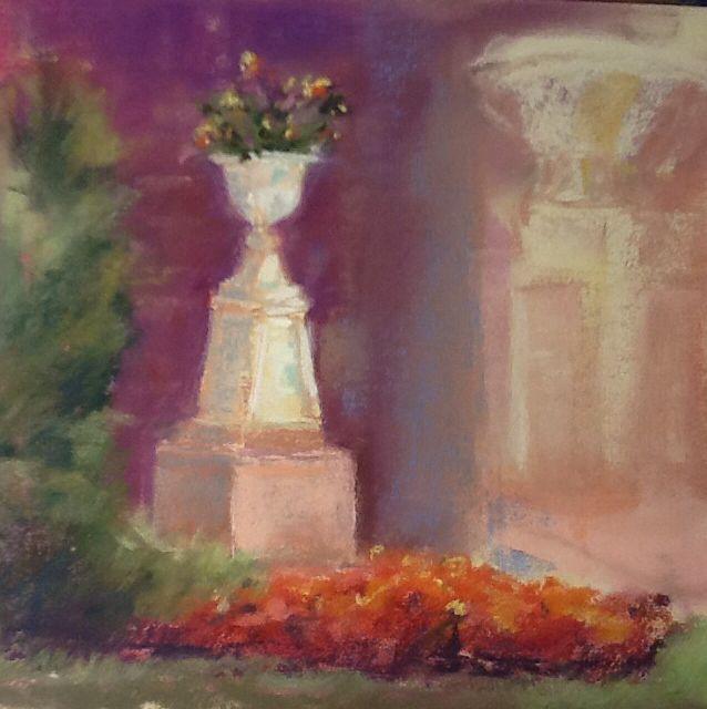 Park Urns. 8x8 pastel on sanded paper by Sandi Graham