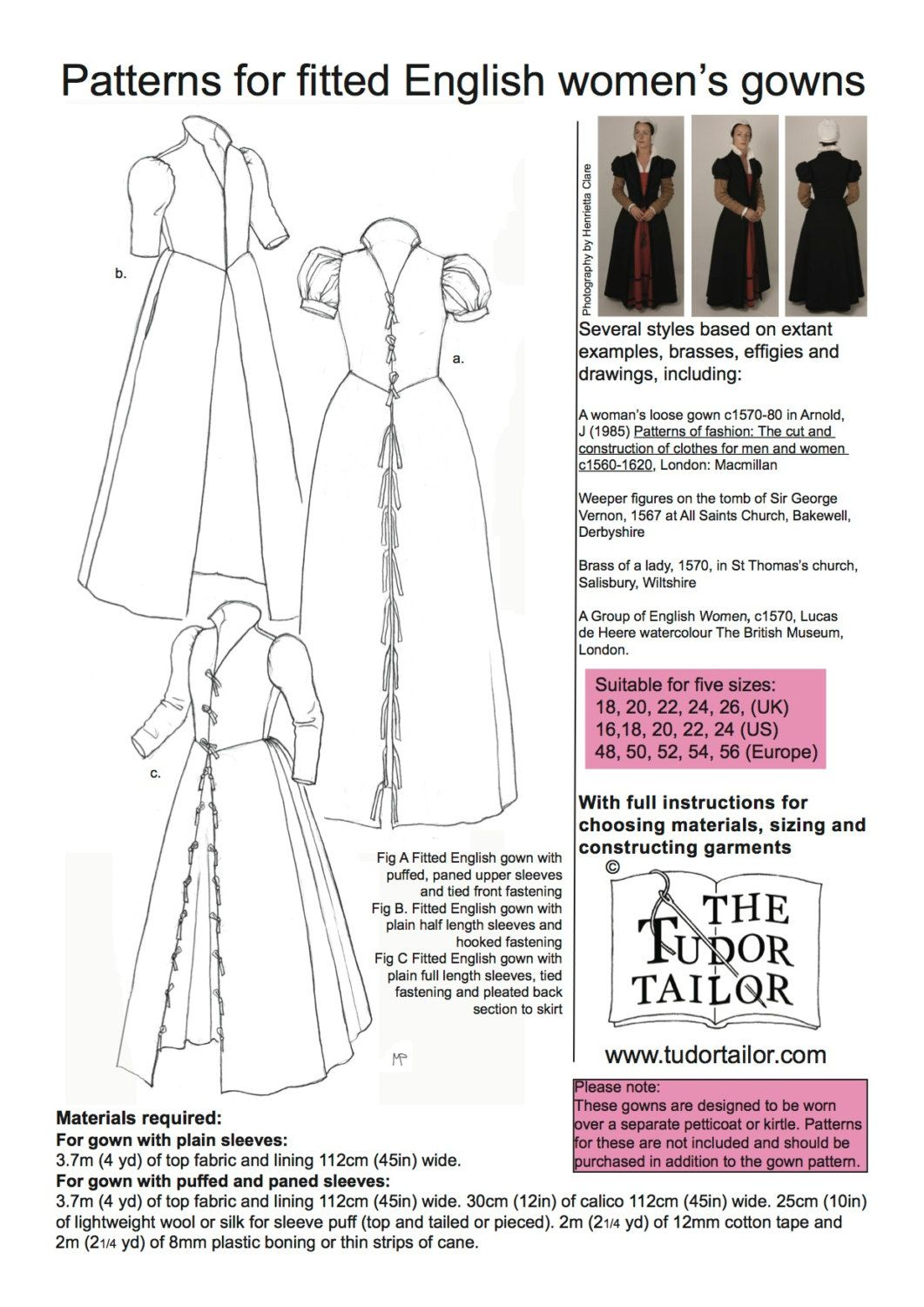 Shop The Tudor Tailor Pattern For Women S Elizabethan Fitted