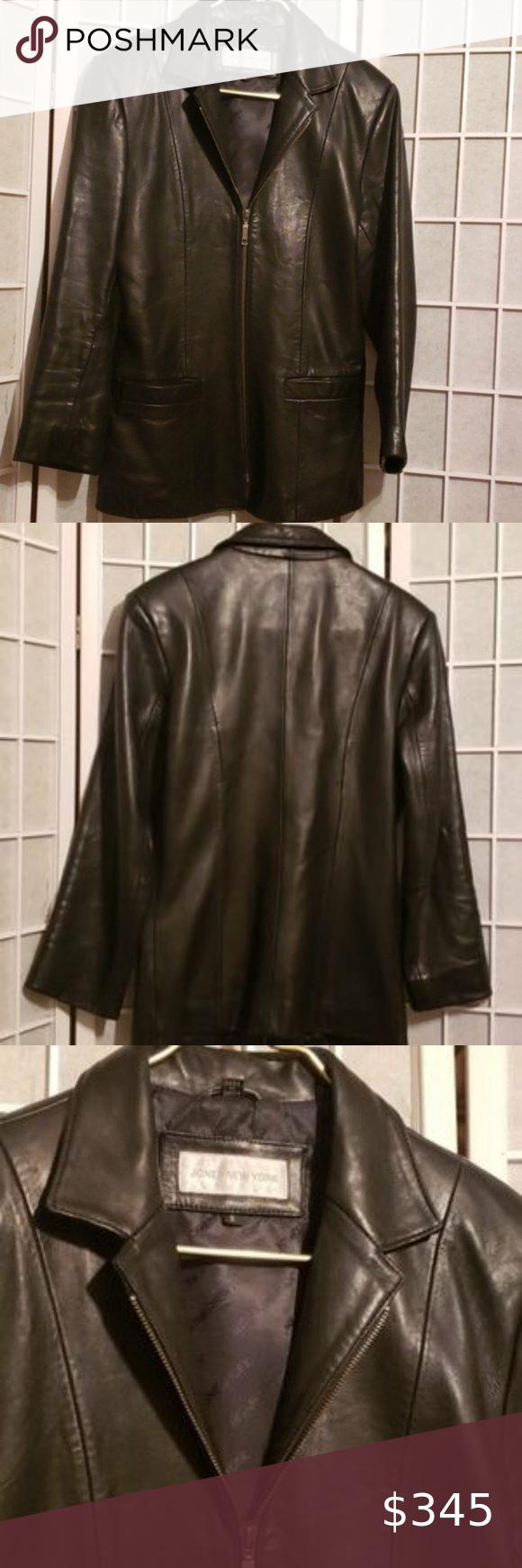 Jones New York Black Leather Zip Jacket Sz S In 2021 Womens Black Leather Jacket Grey Leather Jacket Black Leather Coat [ 1740 x 580 Pixel ]