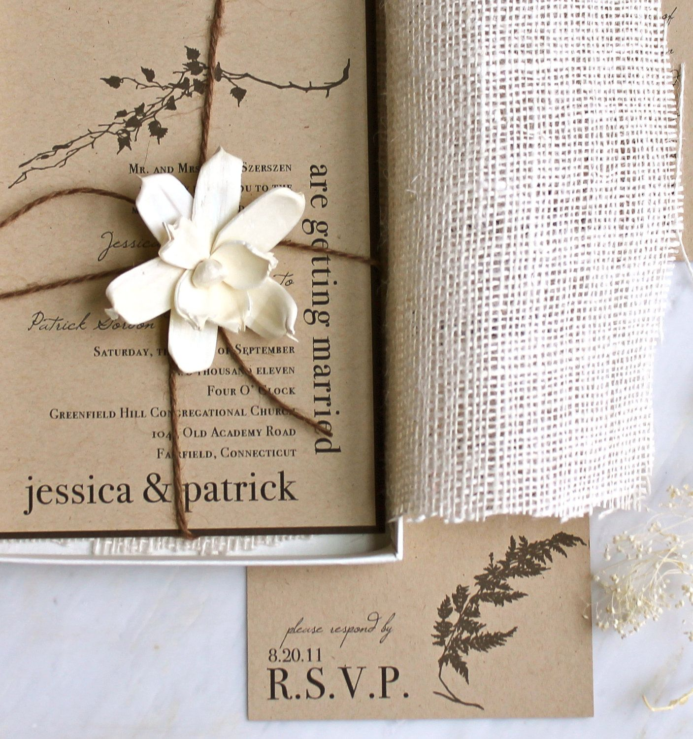 Burlap Wedding Invitations Rustic Boxed Kraft Paper Ivory Romance Box Invite Sample New Lower Price