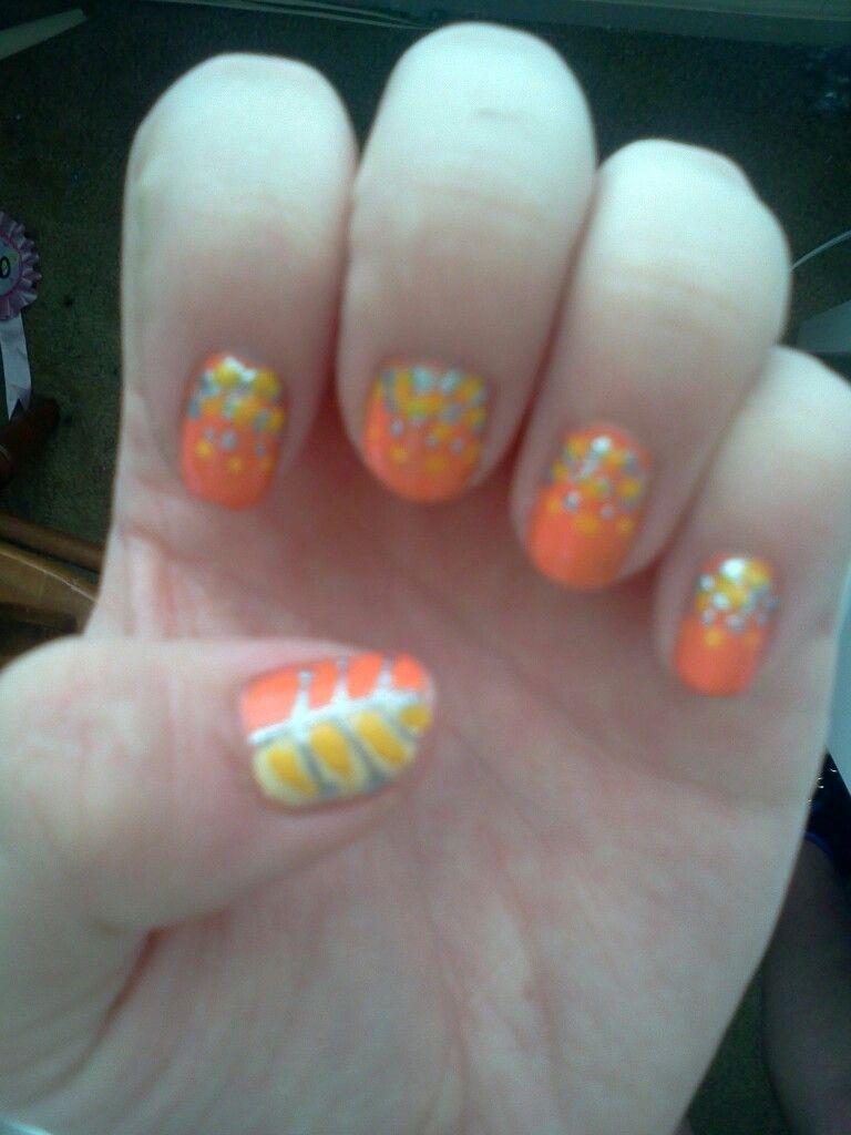 Orange, yellow, and sliver design.