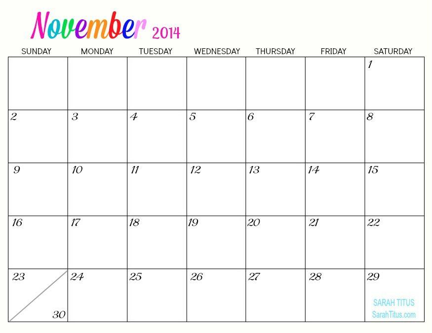 Free Printable  Monthly Calendars  Sarah Titus  Calendarios