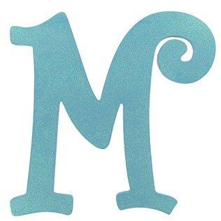 """11 1/2"""" Turquoise Glitter Letter - M"""