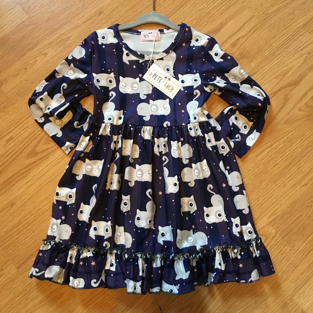 Pete Lucy Long Sleeve Dress With Kitten Stars Available Sizes 2t 3t 4t 5 6 6x 7 8 10 12 Kids Boutique Clothing Clothes Long Sleeve Dress [ 1024 x 1024 Pixel ]