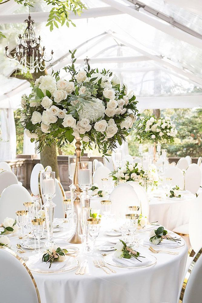 Wedding tent centrepieces