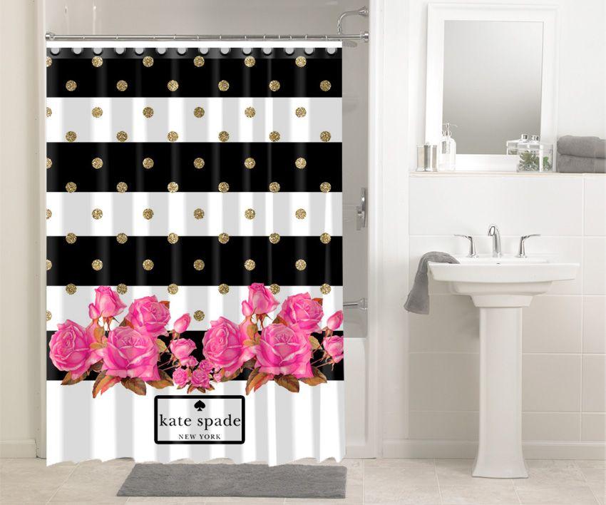 Rose Gold Polkadot Stripes Kate Spade New York #1633 Shower Curtain  Waterproof Bathroom Decor