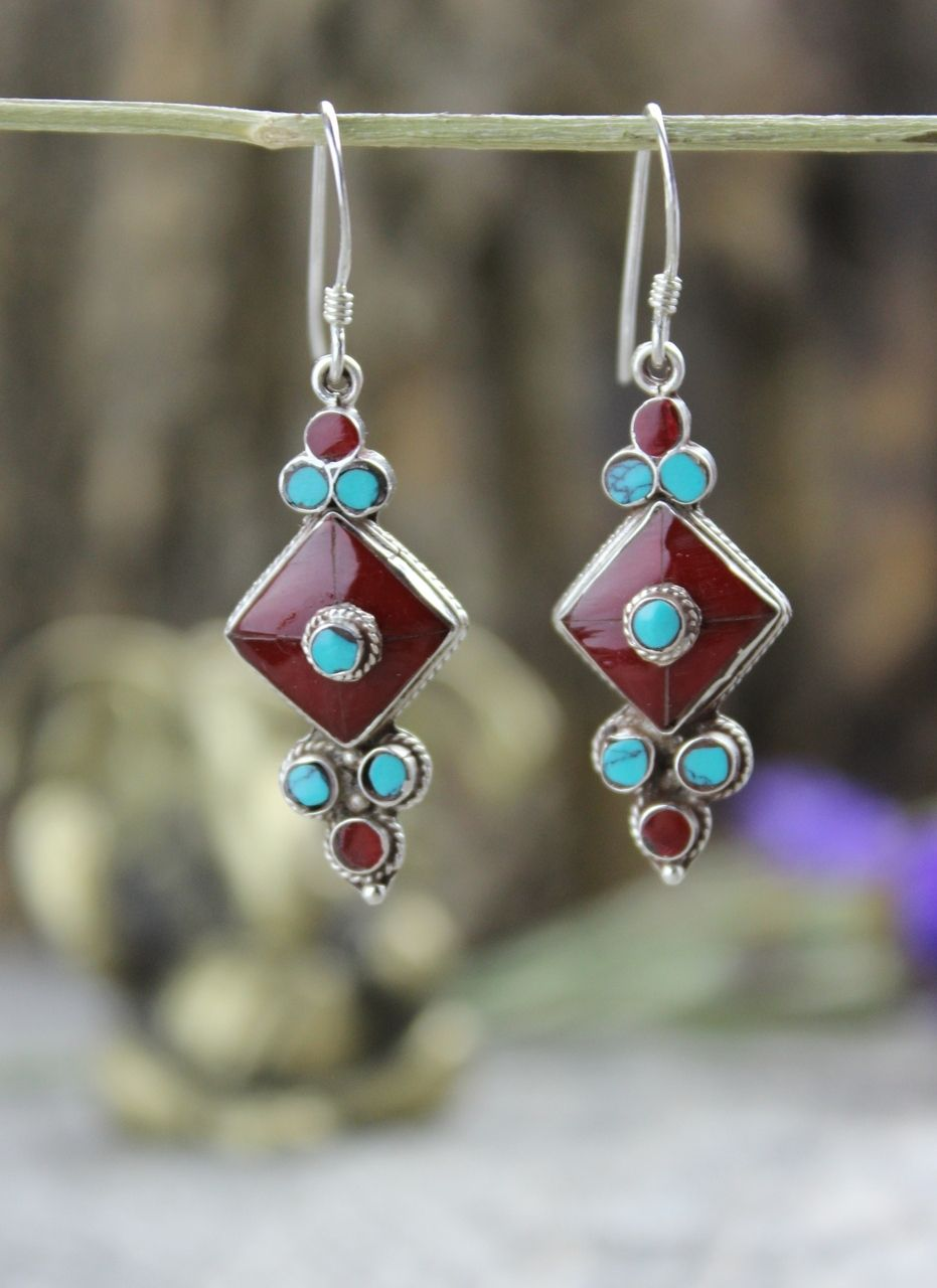 Dharmashop.com - Coral and Sterling Silver Flower Drop Earrings, $45.00 (http://www.dharmashop.com/coral-and-sterling-silver-flower-drop-earrings/)