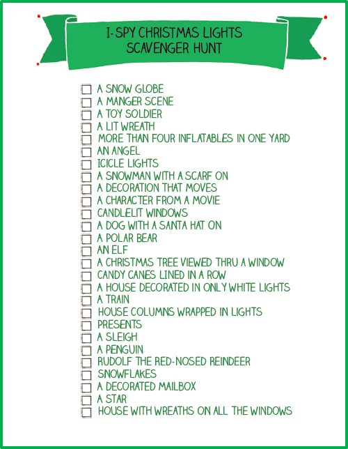 Christmas light scavenger hunt printable free and fun for Outdoor christmas activities for adults