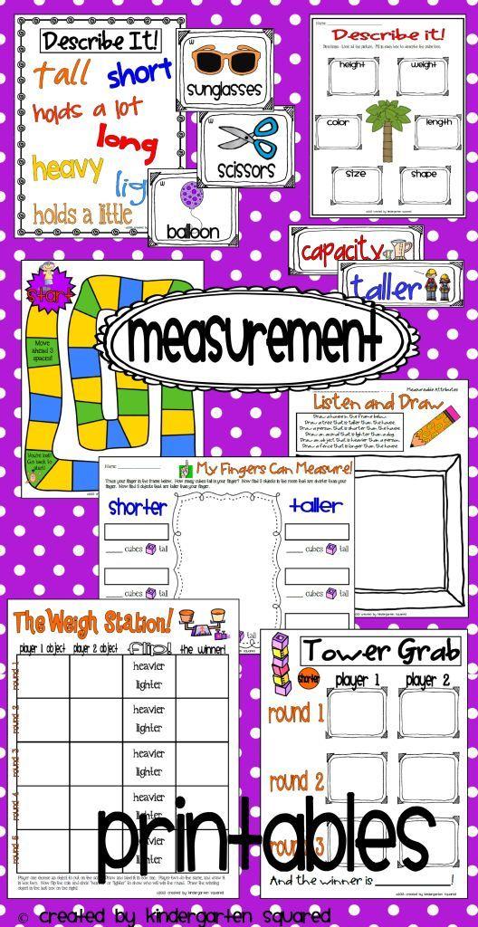 Measurement Common Core Kindergarten Math Unit 5