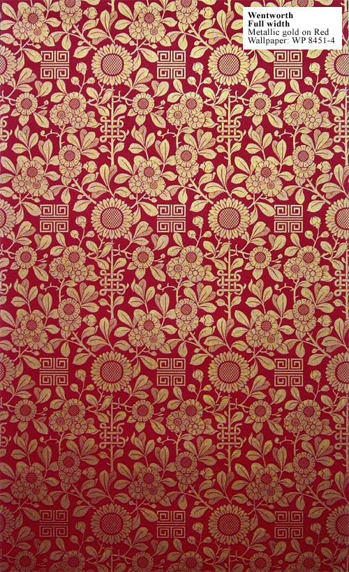 Charles Rupert Designs - Historic Wallpapers. Wentworth metallic gold on red. WP-8451-4.