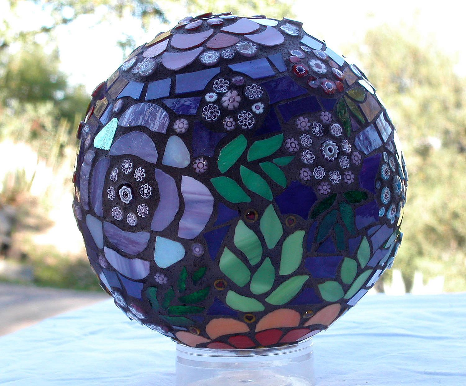 whimsical floral mosaic decorative globe, one of a kind stained