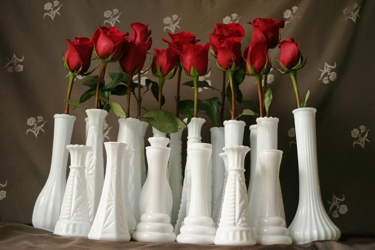 25+Milk+Glass+Bud+Vases+for+Your+Wedding+or+by+SparklingSweeties,+$115.00